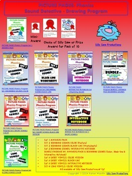 PICTURE PAGES Phonics Program BUNDLE #2 SHORT VOWELS