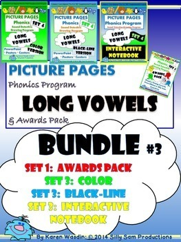 PICTURE PAGES Phonics Program BUNDLE #3 LONG VOWELS