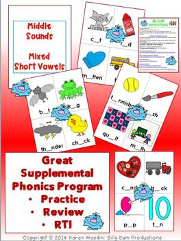 PICTURE PAGES Phonics Program Set 3 SHORT VOWELS COLOR