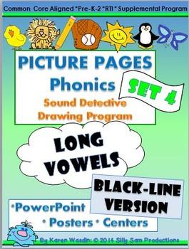 PICTURE PAGES Phonics Program Set 4 LONG VOWELS: BLACK-LIN