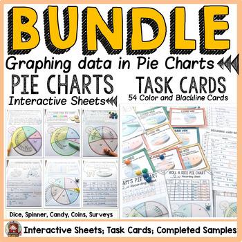 PIE CHARTS/PIE GRAPHS TASK CARDS AND {NO PREP} PRINTABLES BUNDLE