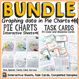 PIE CHARTS/PIE GRAPHS TASK CARDS AND {NO PREP} PRINTABLES BUNDLE