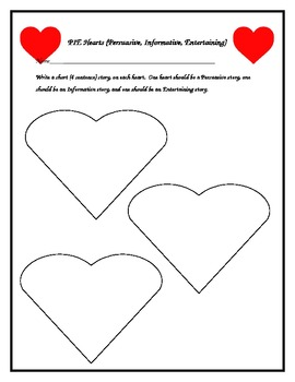 PIE Hearts (Persuasive, Informative, Entertaining) activity for Valentines Day