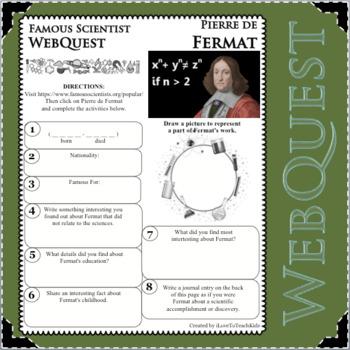 PIERRE De FERMAT Science WebQuest Scientist Research Project Biography Notes