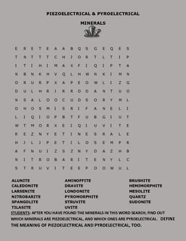 PIEZOELECTRICAL/PYROELECTRICAL ACTIVITY/WORD SEARCH