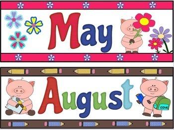 Pig Theme Calendar Headers