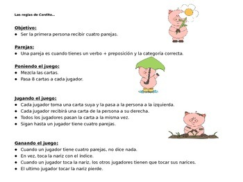 PIG Game with Prepositions and Infinitives