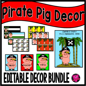 Pigs and Pirates Classroom Decor Set for Pig Lovers