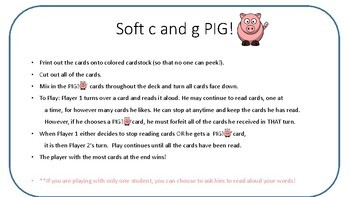 PIG Soft c and Soft g card game- Orton Gillingham