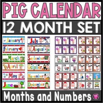 12 Month Illustrated Complete Pig Calendar Set