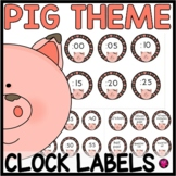 Telling Time Clock Labels Pig Theme