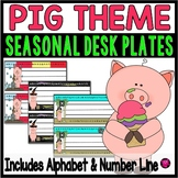 Pig Theme Desk Plates with Alphabet and Number Line