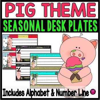 PIGS DESK PLATES with ALPHABET