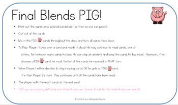 PIG beginning and ending blends card game- Orton Gillingham and Words Their Way