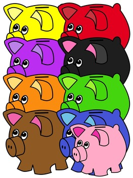PIGGY BANK CLIP ART * COLOR AND BLACK AND WHITE