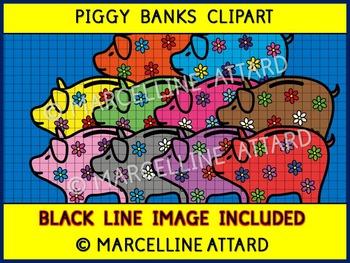 MATH CLIP ART (PIGGY BANKS CLIPART) GREAT FOR MONEY UNIT