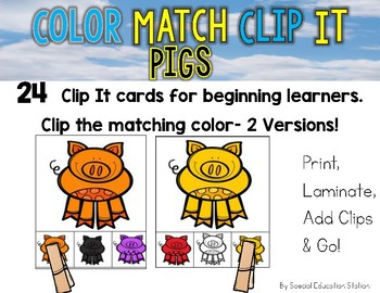 PIGS Color Match Clip It {A Beginning Work Task)