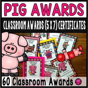 End of the Year Classroom Awards Certificates Pig Theme