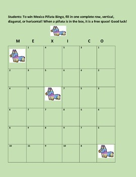 HISPANIC HERITAGE MONTH-CELEBRATE! THE PINATA BINGO GAME