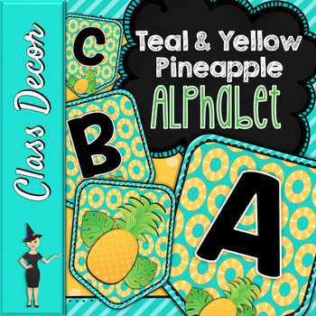 PINEAPPLE PENNANT BANNER, BULLETIN BOARD LETTERS, TEAL & YELLOW