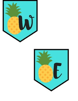 PINEAPPLE Word Wall Labels, Welcome Banner, and Displaying Student Work Poster
