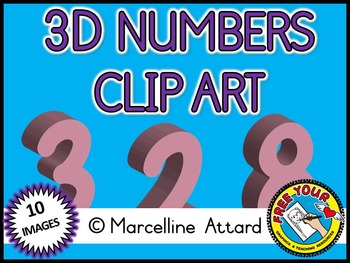 3D NUMBERS CLIPART: PINK SOLID SHAPES CLIPART NUMBERS: MATH CLIPART