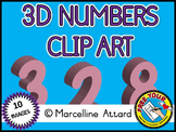 3D NUMBERS CLIPART: PINK SOLID SHAPES CLIPART NUMBERS: MAT
