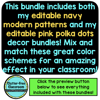 PINK AND NAVY and  Classroom Decor EDITABLE