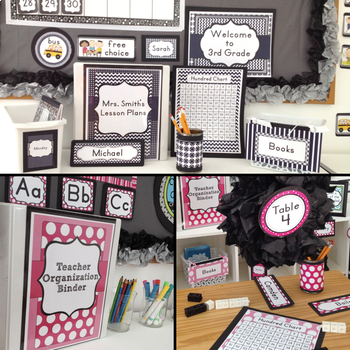 PINK AND NAVY and  Classroom Decor Bundle EDITABLE