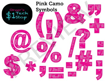 PINK CAMO * Bulletin Board Letters * Symbols * Punctuation * Memorial