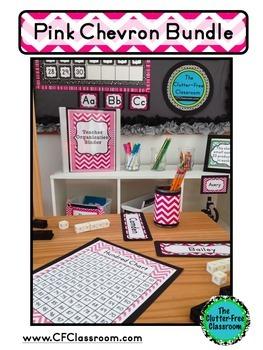 PINK CHEVRON Classroom Decor - EDITABLE Clutter-Free Classroom Decor BUNDLE