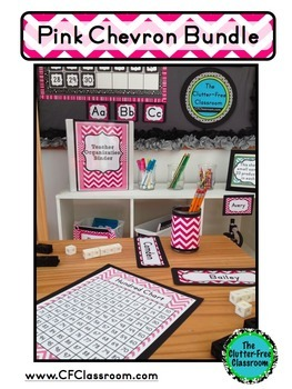 PINK Classroom Decor CHEVRON, EDITABLE