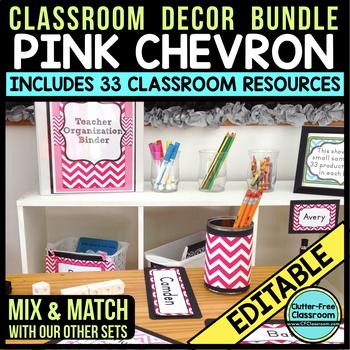 PINK CHEVRON Classroom Decor - EDITABLE Clutter-Free Class