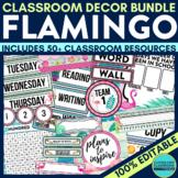 FLAMINGO CLASSROOM DECOR EDITABLE