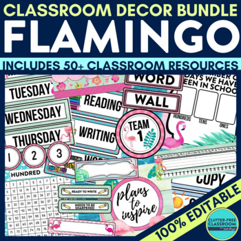 FLAMINGO THEME Classroom Decor - EDITABLE Clutter-Free Cla