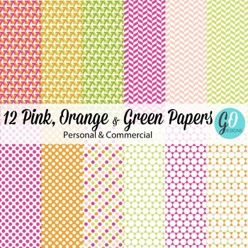 PINK GREEN ORANGE Patterned Papers