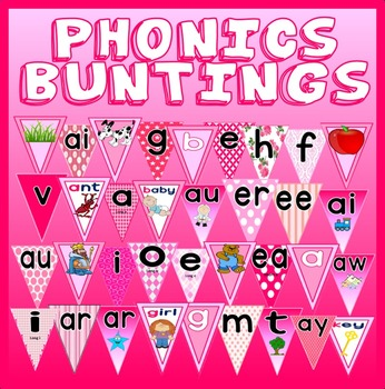 PINK PHONICS BUNTINGS TEACHING RESOURCES DISPLAY LITERACY ENGLISH EYFS KS 1
