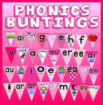 PINK PHONICS DISPLAY POSTERS TEACHING RESOURCES LITERACY ENGLISH EYFS KS 1