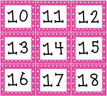 PINK Polka dot Pocket Chart or Wall Calendar Set