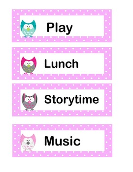 Pink Preschool Schedule Cards