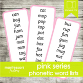 PINK SERIES Phonetic Word Lists | Montessori | 15 cards (150 words)