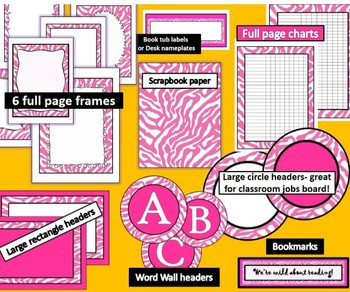 PINK Zebra Theme Classroom Decor Kit
