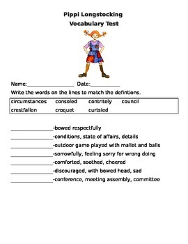 PIPPI LONGSTOCKING VOCABULARY QUIZ