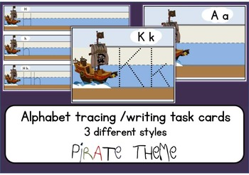 PIRATE Alphabet letter tracing writing cards & worksheets