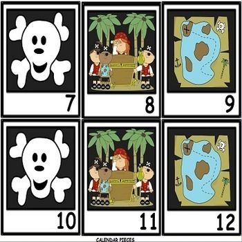 12 Month Calendar Set with Pirate Theme