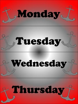 PIRATE Days of the Week Cards