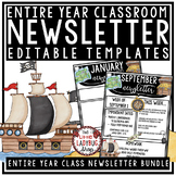 Pirate Theme Classroom Monthly & Weekly Newsletter Template Editable