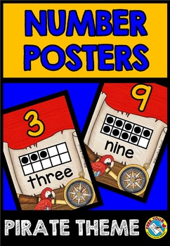 PIRATE THEME CLASSROOM DECOR (NUMBER POSTERS WITH TEN FRAMES)