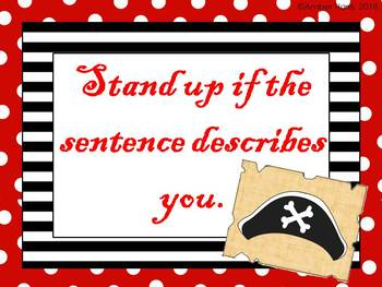 PIRATE THEMED -- Back to School Sit Down Stand Up Active Get to Know You Game