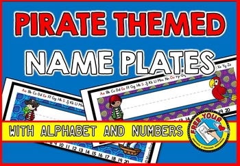 PIRATE THEMED NAME PLATES WITH ALPHABET AND NUMBERS 1-20
